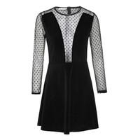 Wholesale Korean Bodycon Skirt - 2017 spring and summer burst of women's Korean velvet splicing foreign trade boot skirt long sleeve lace dress