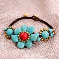nationale diy großhandel-Neue böhmische Perlenarmband nationale handgemachte Wachsseilarmbänder DIY gewebte Türkisblumenarmbänder geben Verschiffen frei