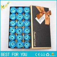 Novo quente 18pcs / set Perfumado Soap Rose Flower Óleo Essencial Set com caixa de presente romântico Lover Valentine's Day Wedding Gifts Body Bath Flowe