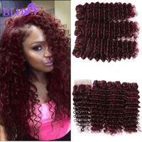 Wholesale Burgundy Hair 99j - 99J Malaysian Deep Wave With Closure 4x4 Human Hair Lace Closure With Bundles Mink Deep Wave Bundles With Closure