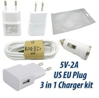 Wholesale Iphone Kit Wall Car - 50pcs Real 5V 2A USB Wall Charger + 50pcs Micro USB Cable + 50pcs Mini Car Charger Charger kit For Samsung Android Phone With ziplock bags