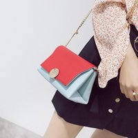 Wholesale Wild Totes - 2017 spring and summer new European and American fashion hit color small square package ladies chain small bag wild Messenger bag