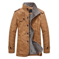 Wholesale Embellished Jackets - Men's Winter Jacket 2017 Casual Motorcycle Single-Breasted Epaulet Embellished Stand Collar Warm Coats Plus Velvet Edition
