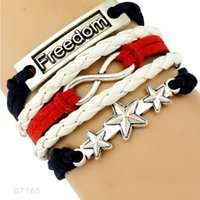 Wholesale Silver Star Charm Pieces - (10 Pieces Lot)Infinity Love Freedom Five-pointed Star Charm Leather Wrap Bracelets For Women Men Gifts Jewelry Drop Shipping