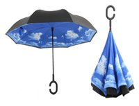 Wholesale 2017 Creative Inverted Umbrellas Double Layer With C Handle Inside Out Reverse Windproof Umbrella colors by