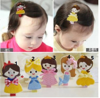 Wholesale Miao Embroidery - Children hairpin head bands Cartoon princess hair clip Embroidery hair ornament hair bands four styles four colors