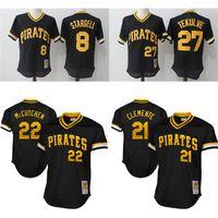 Wholesale Andrew Mccutchen Jersey - Pittsburgh Pirates Throwback Jerseys 8 Willie Stargell 27 Kent Tekulve 21 Roberto Clemente 22 Andrew McCutchen Mesh baseball Jersey