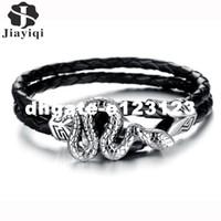 ingrosso migliori regali avvolge-dhgate New Vintage Cool Snake Bracciale in acciaio inossidabile avvolgere bracciali in pelle nera uomini braccialetto di corda gioielli moda migliore regalo