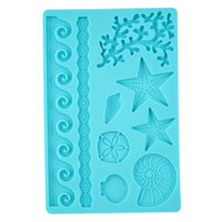 Wholesale Underwater Diy Decorations - Wholesale- Brand New Underwater World conch shell mould 3D DIY practical wave Star fondant cake decoration embossing mold silicone mold
