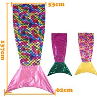 Wholesale Polar Fleece Sleeping Bag - New Arrival Cartoon Kids Blanket Mermaid Tail Gold Blocking Scale Blanket Double Layer Home Sofa Sleeping Bags Kids Gift MA03 DHL Free