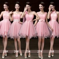 Wholesale Stocked One Shoulder Bridesmaid Dresses - 2018 New Summer Pink Short Bridesmaid Dresses Women Wedding Prom Party Cocktail Elegant Evening Gowns Beautiful Cheap Celebrity Dresses