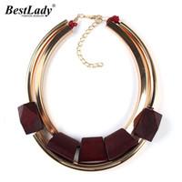 Wholesale Metal Chains Cheap - Best lady Unique Fashion Metal Color Fashion Jewelry Cheap Wood Necklaces & Pendants Statement Collar Choker Necklace Women 2297