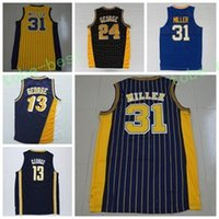 Wholesale Men Shirts Navy - Wholesale 31 Reggie Miller Throwback Uniforms Navy BLue White Yellow Black Color 13 Reggie Miller Jersey 24 Shirt Rev 30 New Material Men