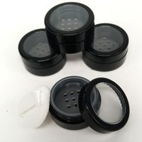 Wholesale Plastic Sifter Jars - 5 10 ML Portable Empty Clear Make-up Powder Puff Box Case Container with Powder Puff Sifter and Black Screw Lid Loose Powder Jar Pot