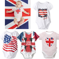 Wholesale Baby Stripe Sweater - Baby Rompers American Flag Summer Triangle Baby Jumpsuits One-piece Garment Stars Stripes Letters Short Sleeve Sweater 0-18 Months