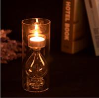 Wholesale Ornaments Tea Light Candle - European romantic transparent glass candlestick candle European romantic transparent glass candlestick ornaments creative crystal wedding ar