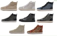 Moda Red Bottom High Top WomenMen Shoes flat Spikes Sneakers Shoes Negro blanco Luxury Designer Remaches Walking Shoes, Dress Party Wedding