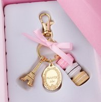 Wholesale Keychain Gift Boxes - Hot sell Fashion Macarons Cake Keychain With Box France Paris Effiel Tower Boutique Delicate Present Charm Christmas Gifts for Her Him