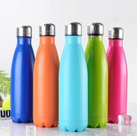 Wholesale Stainless Steel Thermos Free Shipping - Cola Shaped Insulated Double Wall Vacuum high-luminance Water Bottle 17oz 500ml Creative Thermos bottle Vaccum Insulated free shipping
