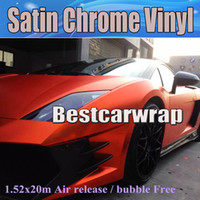 décalcomanies en vinyle orange achat en gros de-2017 Orange Satin Chrome Vinyle Voiture Wrap Film avec bulle d'air Gratuit Pour Luxe Véhicule Graphiques Couvre Feuille autocollants taille 1.52x20 m / Rouleau