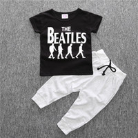 Wholesale toddlers short pant suits resale online - Cool fashion Summer Baby clothing sets the beatles boy t shirt pants suits set Toddlers sportwear baby boy clothes children boys clothes