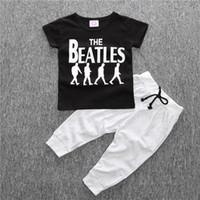 beatles yaz gömleği toptan satış-Serin moda Yaz Bebek giyim setleri beatles boy t-shirt + pantolon takım elbise set Toddlers sportwear erkek bebek giysileri çocuk erkek giysileri