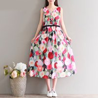 Wholesale Xl Gril - Women Summer Dress Cotton A Line Flower Print Dress Sleeveless Casual Dresses High Waist Mori Gril Plus Size Dress