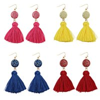 Wholesale Vintage Yellow Earrings - 2017 Fashion Crystal Pink Tassel Earrings Ethnic Retro Whosale Bohemia Party Gift Vintage Red Yellow Maxi Drop Earrings For Women Jewelry