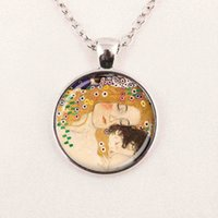 Wholesale Klimt Mother Child - mother and child necklace gustav klimt pendant art gift for mom and her, Bronze Necklaces & Pendants
