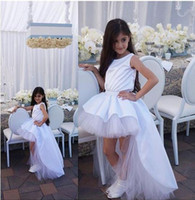 Wholesale first comunion dresses for sale - White O Neck High Low Flower Girls Dresses Ruffles Tulle Holy First Communion Dresses Zipper Back Vestidos Comunion Girls Pageant Dresses