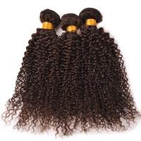 Wholesale 22 Chocolate Brown Extensions - Malaysian Virgin Human Hair Bundles Kinky Curly Chocolate Brown Human Hair Weft Medium Brown #4 Wavy Hair Extension 3Pcs For Woman