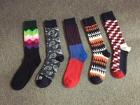 Wholesale Long Striped Socks For Men - Hot The Plaid Striped Print Socks 5 Style Cotton Fashion Casual Long Socks Printing for Men and Boy Colorful Gradient color Stockings