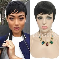 Wholesale Hair African American Women - Human Short Hair Glueless Wig With Bangs Cheap Pixie Cut African American Wigs Short Bob Cuts Full Hair Lace Wig For Black Women