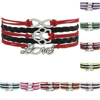 Wholesale Infinity Bracelet Orange - Infinity Dog Paw Love Charm Bracelets For Women Men Orange Pink Wax Leather Wrap Bracelet Jewelry