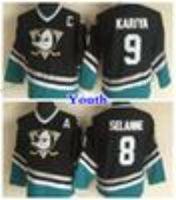 Wholesale Cheap Kids Linen - Youth Mighty Ducks Throwback 8 Teemu Selanne 9 Paul Kariya Hockey Jerseys Kids Anaheim Ducks Vintage CCM Purple Stitched Jersey Cheap