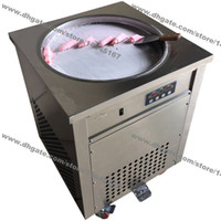 Wholesale ice cream machines resale online - Stainless Steel v v Electric cm Thai Fry Pan Ice Cream Rolled Yogurt Machine Fried Ice Cream Roll Maker