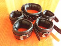 Wholesale High Quality Black Sex - High Quality Leather Collar Handcuffs Anklet set for Wrist Ankle Leg Cuffs Restraints with Lock Adult Sex Toys BDSM Bondage