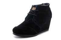 Wholesale Elegant Black Wedges - Women Autumn Ankle Boots Fashion Ladies Height Increasing Boots Woman Wedge Heels Boot Elegant Women Shoes Size: 35-40