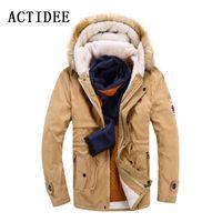 Wholesale Turn Down Overcoat - Wholesale- New Brand Men's White Cotton Down Jacket Casual Turn-dwon Fur Hood Parka Wool Winter Jacket Men Fashion Overcoat Outerwear