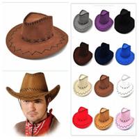 Wholesale Wide Brimmed Hat Mens - Cowboy Hat New Suede Look Wild West Fancy Dress Mens Ladys Cowgirl Unisex Adult Women Men Children Visor Knight Wide Brim Hats YYA252