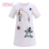 Pettigirl New Arrival Girls Dresses White With Cartoon Pattern Causal Kids Leisure Clothing Vestido com BlingBling Star G-DMGD908-849