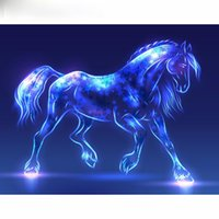 Wholesale Craft Horses - Fluorescent horse DIY Diamond Painting Embroidery 5D Cross Stitch Crystal Square Home Bedroom Wall Art Decoration Decor Craft Gift