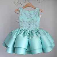 Wholesale Chocolate Fancy Dress Costume - Lace Short Ball Gown Flower Girl Dresses Big Bow Back Mint Green Tiered Pageant Gowns Vintage Bead Fancy Dress Costumes