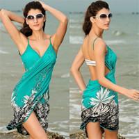 Wholesale Skirted Bikinis - 20176 summer new ice silk material strap dress skirt bikini beach skirt swimsuit sunscreen clothing
