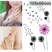 Wholesale flying birds art - Waterproof Tattoo Sticker Colored Dandelion Birds Flying Temporary Tattoo Foil Decal Body Art Fake Tattoo Sticker