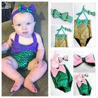 Wholesale Toddler Two Piece Swimsuits - PrettyBaby bowtie Fashion Princess Girls Mermaid Swimsuit one piece Kids Toddler Bikini 2 Pcs Suit Child Swimwear Children Bathing swimsuit