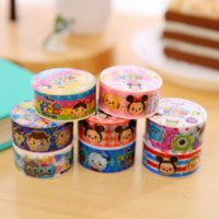 Wholesale Gummed Tape Wholesale - Wholesale- 2016 8Pcs set 8M Cute Gummed Paper Washi Tapes TSUM TSUM Sticker Colored Masking Tapes Decorative Adhesive Scrapbooking Stickers
