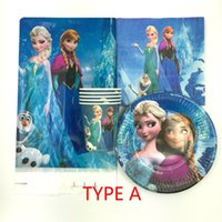 Wholesale Plastic Tablecloth Decorations - Wholesale- 62pcs Anna Elsa theme paper plate cup napkin tablecloth for Children birthday party decoration favor and gift