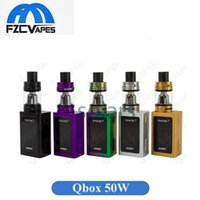 Wholesale E Cigarette Large Tank - 5 Colors SMOK QBOX Q Box Starter Kit 50W Compact Vape E Cigarette Kit with Large OLED Display 3ml Top Refilling Tank