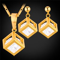 Wholesale korean cute jewelry - U7 Romantic New Square Box Crystal Drop Earring Pendant Necklace Set for Women Cute Gift Gold Plated Korean Cubic Zirconia Jewelry Set